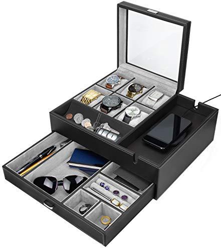 HOUNDSBAY Commander Dresser Valet Watch Box Case Mens Jewelry Box Organizer with Smartphone Charging Station BlackGray