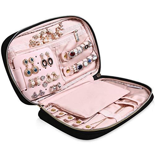 MoMA Travel Jewelry Organizer - 98L x 61W x 19H Jewelry Case - Jewelry Storage Box for Necklace Earrings Rings Bracelets - Women Quilted Jewelry Box Organizer - Girl Portable Jewelry Case