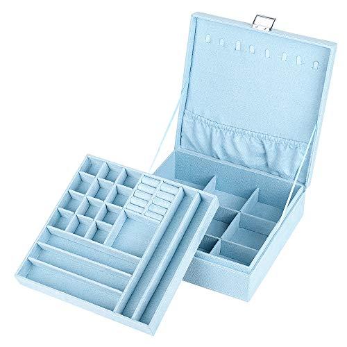 NEX Jewelry Box Organizer 2 Layers Lint Jewelry Display Storage Case with Lock for Girls and WomenBlue