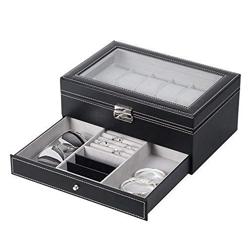 NEX Watch Case Organizer Double-Layer Watch Box with Display Glass and Jewelry Tray Drawer