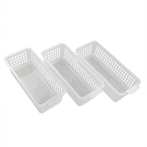 Lesbin Plastic Clear Storage Trays Basket Organization 3-Packs