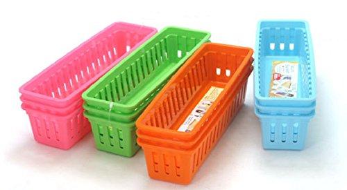 Mini Plastic Storage Trays Baskets 4 Color 12 Pack