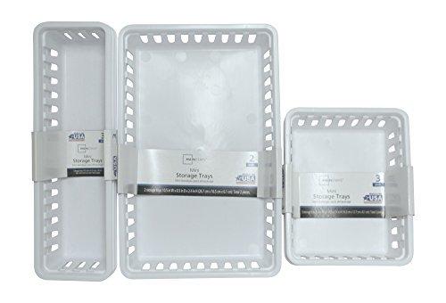 Mini Storage Trays Bin Bundle- Basic Square 3pk Slim Plastic Storage Trays Basket 3pks Rectangular 2pk -White