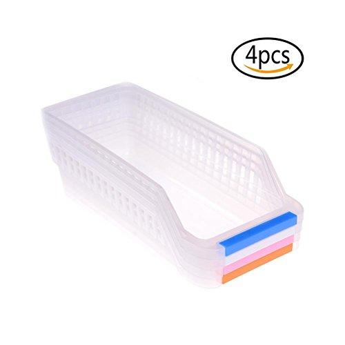Set of 4 Organizer Baskets Freezer Storage Organizer Bins Plastic Storage Tray with Handle for kitchen Refrigerator Closets Random color