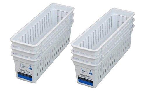 Slim Plastic Storage Trays Baskets in White- Set of 6