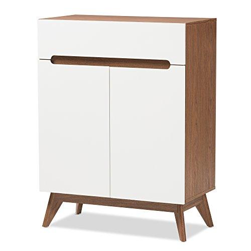 Baxton Studio 424-7503-AMZ Helene Mid-Century Modern Wood Storage Shoe Cabinet WhiteWalnut Brown