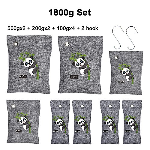 MySit Air Purifying Bags Sets Bamboo Charcoal Bag Odor Remover for AutoShoe Cabinet Pet Car Fridgerator Toilet 1800g 8 bags