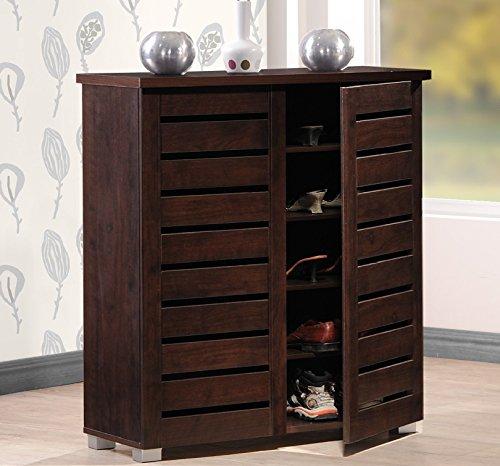 Wholesale Interiors Baxton Studio Adalwin Modern and Contemporary 2-Door Dark Brown Wooden Entryway Shoes Storage Cabinet
