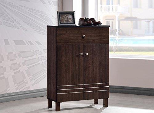 Wholesale Interiors Baxton Studio Felda Dark Brown Modern Shoe Cabinet with 2 Doors and Drawer