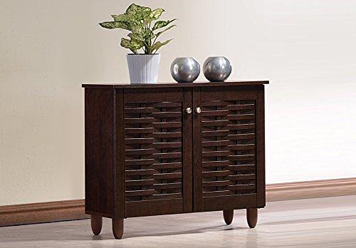 Wholesale Interiors Baxton Studio Winda Modern and Contemporary 2-Door Dark Brown Wooden Entryway Shoes Storage Cabinet