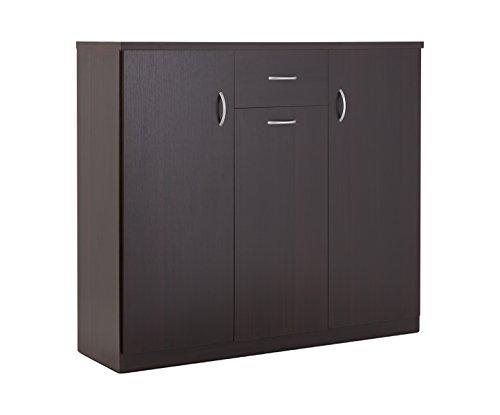 ioHOMES Darrion 10 Shelf Shoe Cabinet Espresso