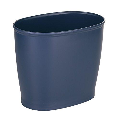 InterDesign Kent Oval Wastebasket Trash Can for Bathroom Kitchen Office - Navy Blue