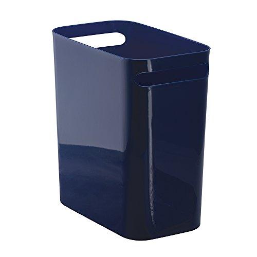 InterDesign Una Wastebasket Trash Can 12 Navy