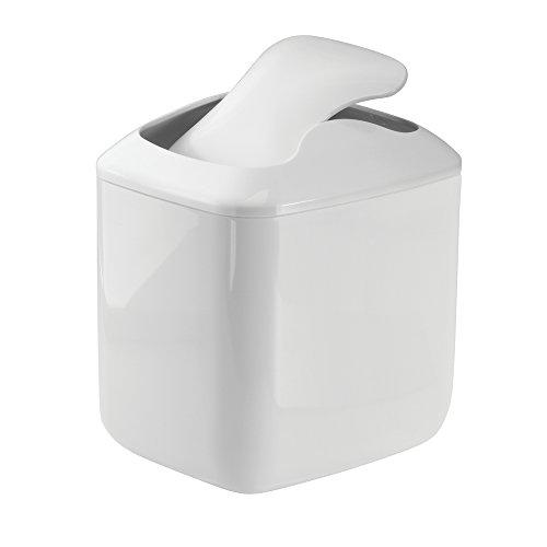 MetroDecor mDesign Wastebasket Trash Can for Bathroom Vanity Countertops White