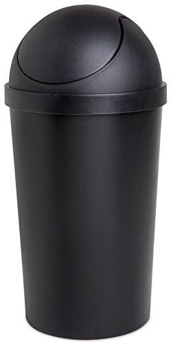 Sterilite Black 12 Qt Swing-Top Wastebasket