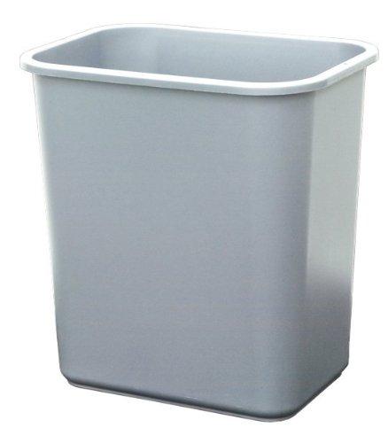 United Solutions WB0062 Grey Twenty Eight Quart Plastic OfficeIndoor Wastebasket - 28QT 7 Gallon Plastic TrashRefuse Can for Home Office or Dorm in Grey