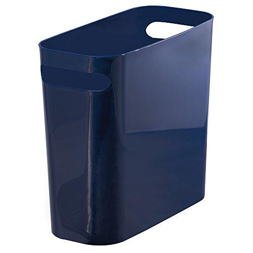 mDesign Plastic Wastebasket Trash Can - 10 Navy