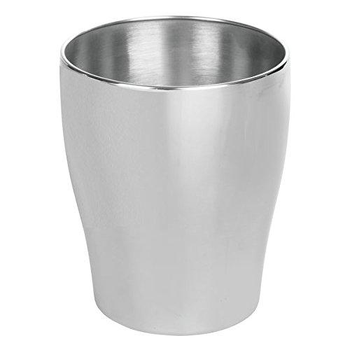 mDesign Wastebasket Trash Can for Bathroom Kitchen Office - Brushed Stainless Steel