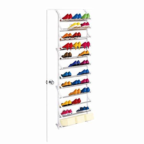 36 Pair OverDoor Shoe Rack White Metal Over-The-Door Hook - Quality Shoe Rack  Shoe Organizer Great Shoe Storage Solutions Shoe Rack for Shoes Kids Shoe Premium Shoe Racks for Entryway