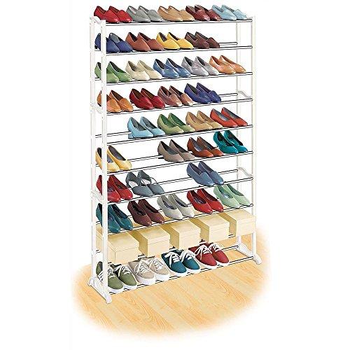 50 Pair Shoe Rack White Metal - Quality Shoe Rack  Shoe Organizer Great Shoe Storage Solutions Shoe Rack for Shoes Kids Shoe Premium Shoe Racks for Entryway