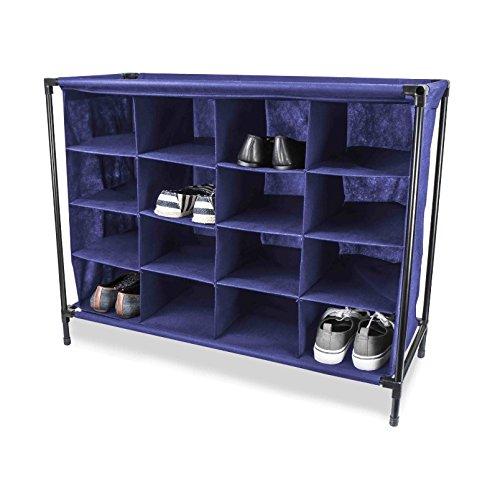Shoe Storage Solutions Cubby - Best in Your Hallway Entryway Closet or Foyer - Footwear Organizer 16 Cubbie Unit Blue Fabric
