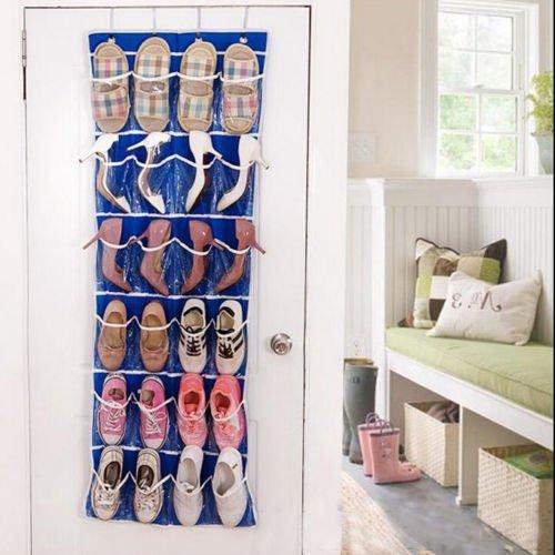 Underbed Storage Shoe storage containers Over Door Shoe Hanging Organiser Storage 4 Racks Multi-function Bag 24 Pocket shoe storage solutions over the door Blue