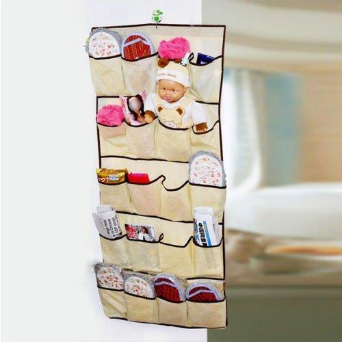 SODIALR 20 Pocket Hanging Over Door Shoe Organiser Storage Tidy Rack Space Saver- Beige
