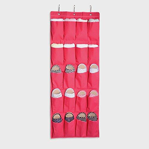 20 Pocket Hanging Door Organizer Closet Shoe Hanger Storage Organizer Bag Hot Pink