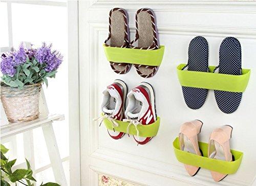 Creative Plastic Wall Mounted Shoes Rack for Entryway Over the Door Shoe Hangers Organizer Hanging Shoe Storage Racks(4 PCS) green