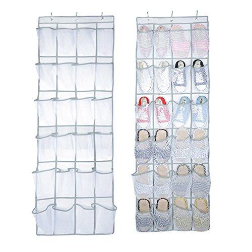 Heavy Duty 24 Pocket Door Hanging Holder Tidy Shoe Organiser Closet Storage Rack Box Coat hangerWhiteShoe HolderDoor Shoe Rack