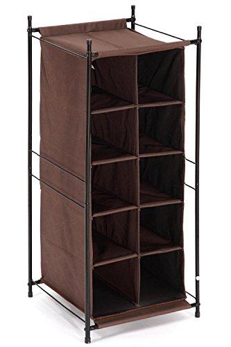 StorageManiac 5-Tier 10-Pair Shoe Cubby Organizer Stackable Shoe Storage 10-Compartment Brown
