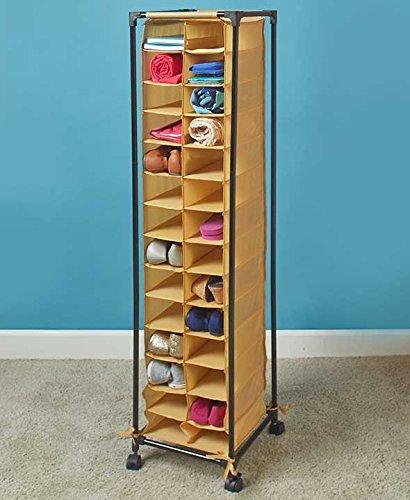 Tall Slim Space Saving Stylish Fashionista Shoe Cubby Rolling Storage Unit Cart natural