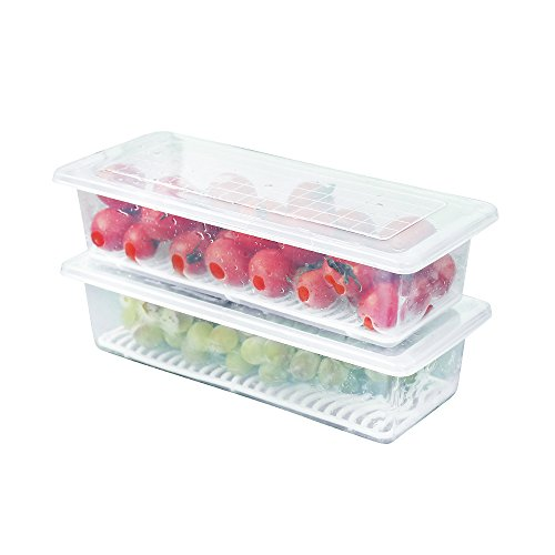 Baoyouni 2 Piece Refrigerator and Freezer Stackable Storage Organizer Bins with DrainboardFish Storage Box