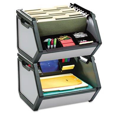 Stackable Bin Storage Box Letter Plastic 15-34 x 15x 14 Gray