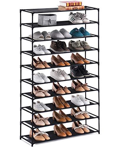 YOUDENOVA 10 Tiers Shoe Rack Non-Woven Fabric Shoe Rack Organizer 50 Pairs Shoe Organizer Black