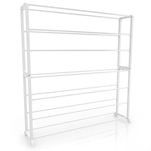 Homdox Portable Shoe Rack Shoe Storage Organizer Cabinet 7 Tiers White