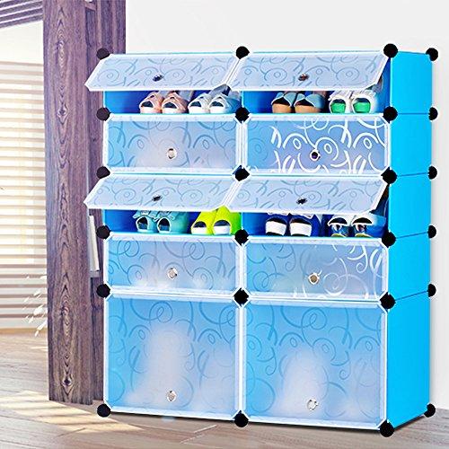 Shoe Rack DIY Halloween Gifts Nex Shoes Cabinet Toys Organizer Storage Multi Use Resin 10 Cube Shoe Rack Bookcase Portable Shoe Organizer bluewhite