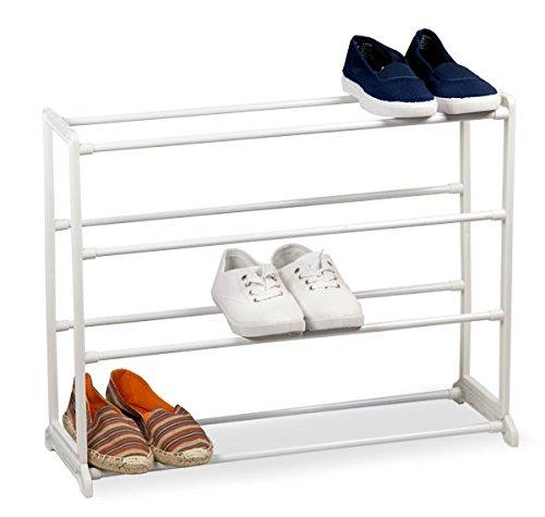Sunbeam Free Standing White Shoe Rack 12 Pair