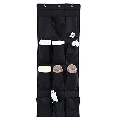 Didihou 12-Pocket Over-The-Door Shoe Organizer Hanging Shoe Storage Unit Black