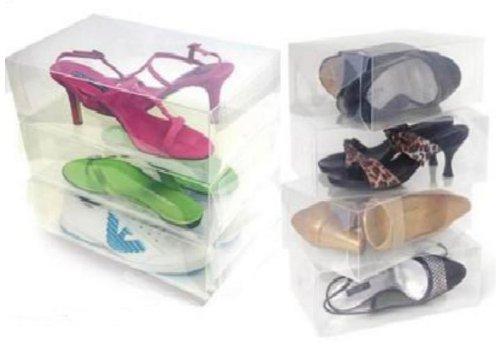 12 Pack Clear Plastic Shoe Storage Transparent Boxes Container for Shoes Closet Organization