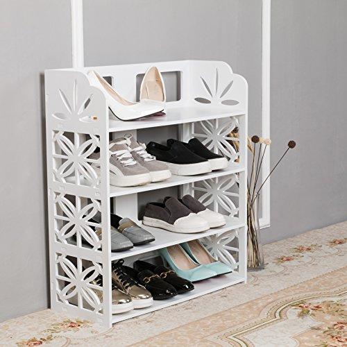 Dline 4 Tiers Wood-Plastic Composite Shoe Rack Space Saving Shoe Tower Cabinet Storage Organizer,WhiteSBH-4CA