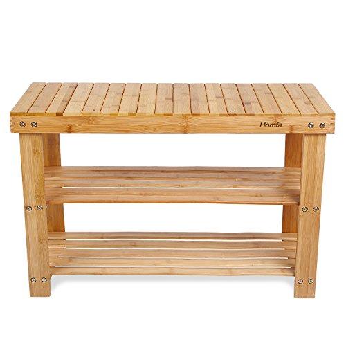 HOMFA Natural Bamboo Shoe Rack Bench 2 Tier Shoe Organizer Entryway Seat Storage Shelf Hallway FurnitureQ12-4