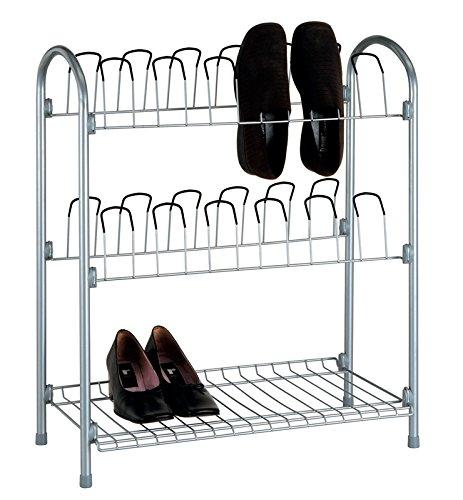 Organize It All 17704w 12 Pair Wire Shoe Rack With Storage Shelf