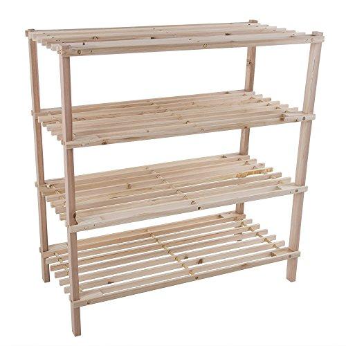 Wood Shoe Rack Storage Bench – Closet Bathroom Kitchen Entry Organizer 4-Tier Space Saver Shoe Rack by Lavish Home