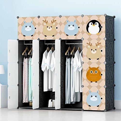 Closet Organization Systems Cartoon plastic closet foldable wardrobe economical locker storage of clothes shoes toys suitable for children black Color  16-3