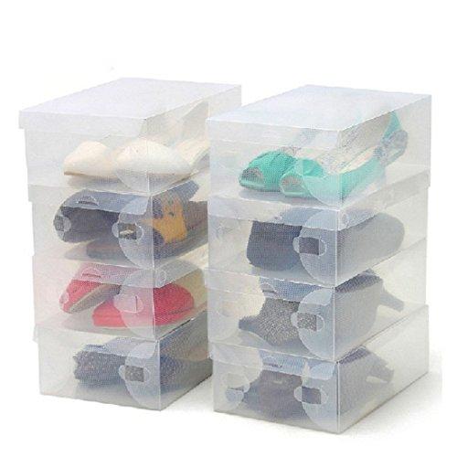 Mangocore new style 10Pcs Transparent Clear Plastic Shoes Storage Boxes Foldable Shoes Case Holder
