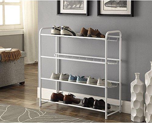 4 Shelf Metal Wire Shelving Shoe Rack in White Finish 31W x 1715D x 3275H