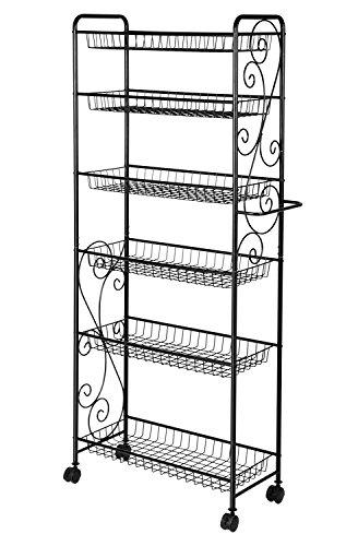 Yontree 6 Tier Adjustable Wire Metal Heavy Duty Shoe Rack Living Room Storage Organizer Shelving Rack Unit Shelf with Wheels 22x1175x54 In