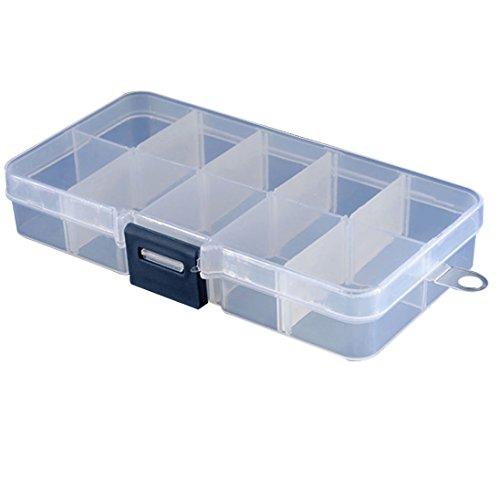 Colorido 10 Compartments Clear Plastic Storage Box Jewelry Organizer Container