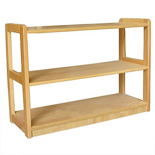 Carl Artbay 3 Tier Storage ShelfWooden Bookcase Shelving Display Unit Kids Shoe Rack for Hallway Bathroom Kitchen Living Room Office Natural